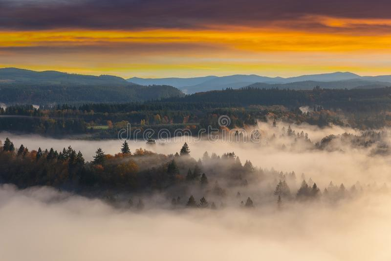 Foggy Sandy River Valley during Sunrise in Oregon USA United States. Rolling fog along Sandy River Valley in Clackamas County Oregon during sunrise USA America royalty free stock image