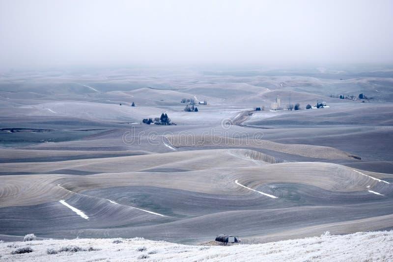 Rolling Hills cubrió con helada y nieve en invierno fotos de archivo