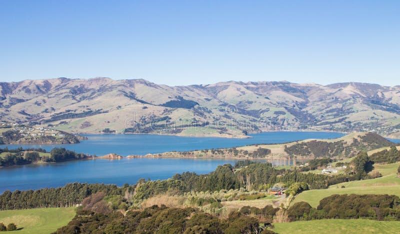 Rolling Hills et port d'Akaroa, banques péninsulaires, Nouvelle-Zélande photo libre de droits