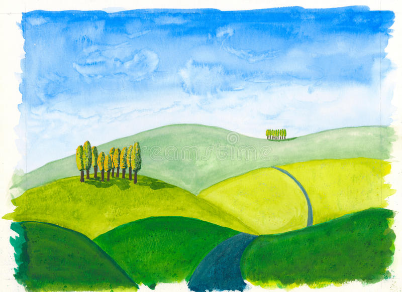 Tuscan hills original watercolour painting rolling stock illustration
