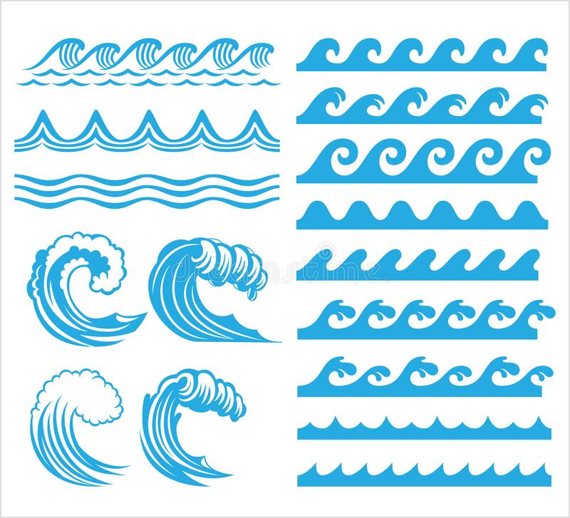 Free Rolling Ocean Sea Wave Stream Line Pattern Vector Graphic Design Set Stock Photography - 190501362