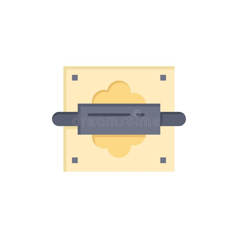 Rolling, Pin, Bread, Kitchen  Flat Color Icon. Vector icon banner Template vector illustration
