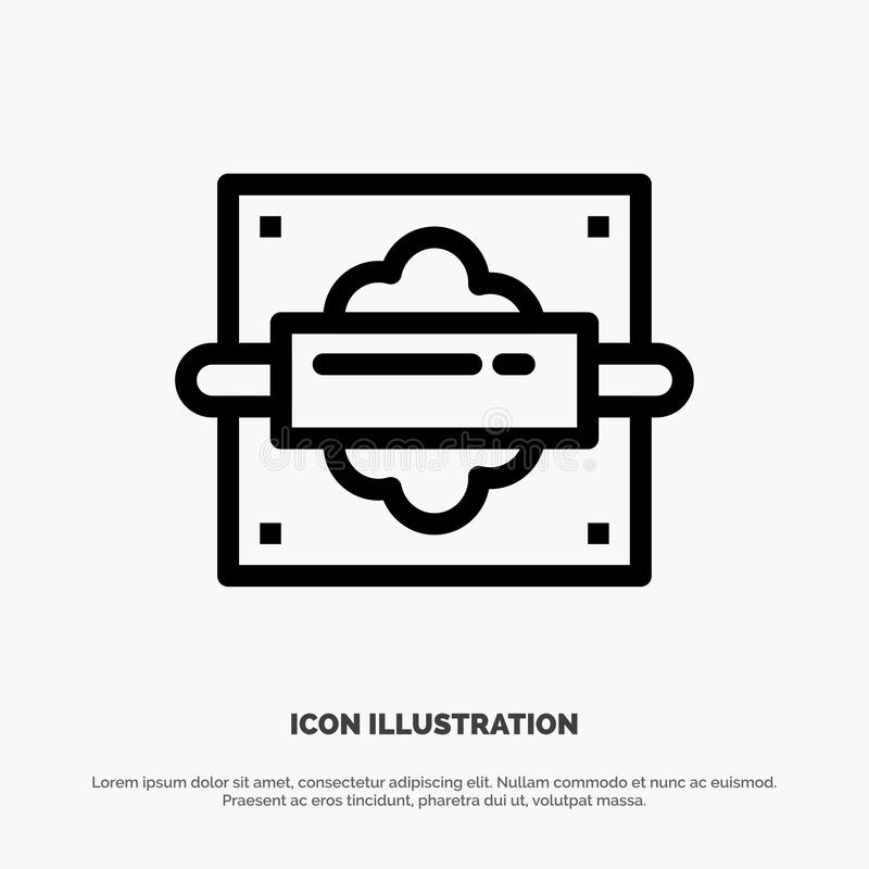 Rolling, Pin, Bread, Kitchen Vector Line Icon royalty free illustration