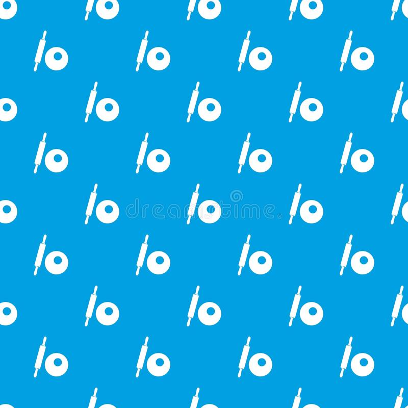 Rolling pin and dough pattern seamless blue vector illustration