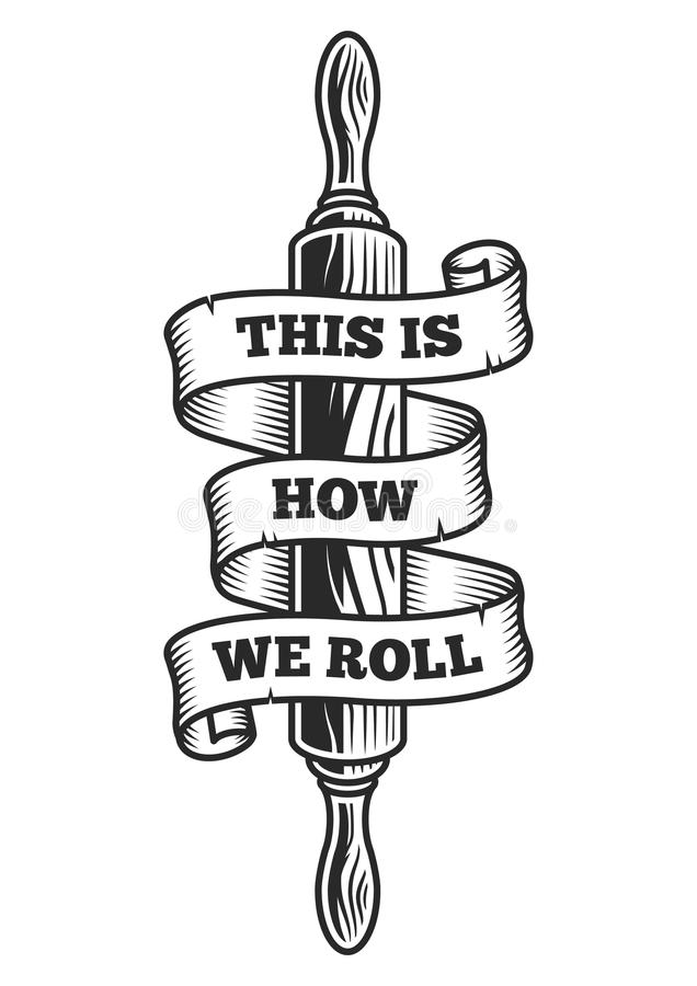Rolling pin with ribbon stock illustration