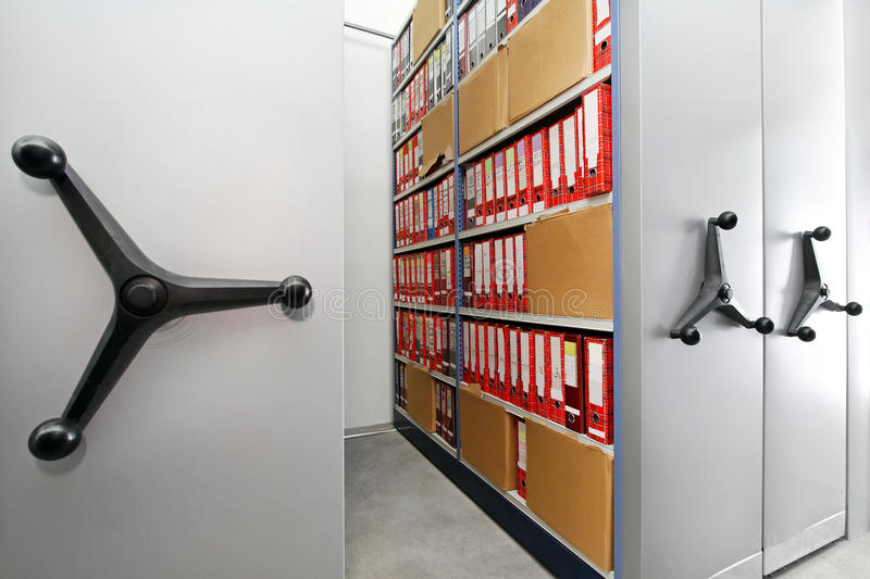 Rolling shelves archive royalty free stock photography