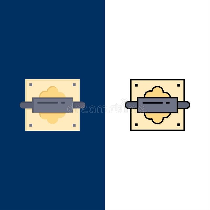 Rolling, Speld, Brood, Keukenpictogrammen Vlak en Lijn vulde Pictogram Vastgestelde Vector Blauwe Achtergrond royalty-vrije illustratie