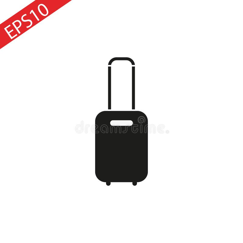 Rolling suitcase vector icon on white background. vector illustration
