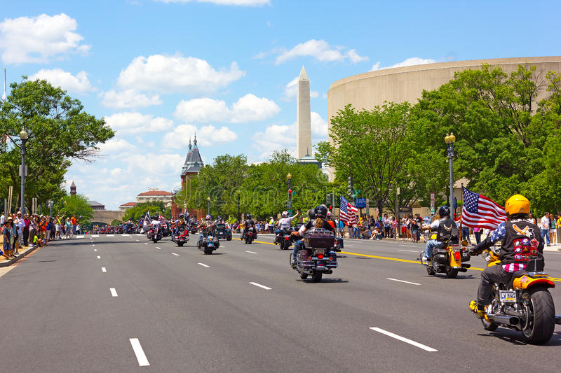 Rolling Thunder motorcycle rally for American POWs and MIA soldiers royalty free stock photo