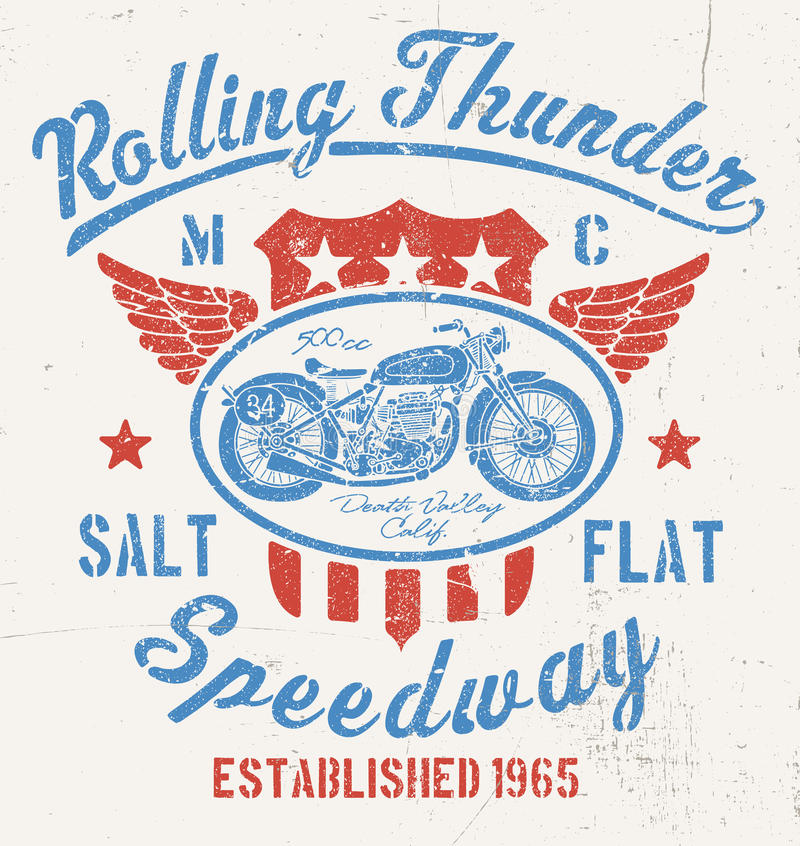 Rolling Thunder Vintage Motorcycle Graphic royalty free illustration