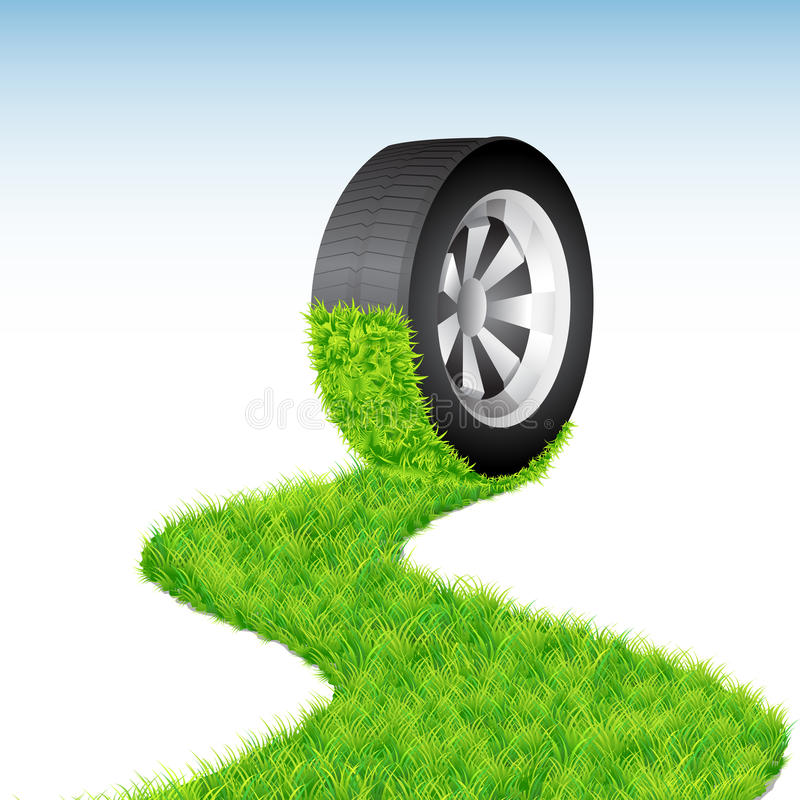 Rolling Tyre. Illustration of tyre rolling on floor on abstract background stock illustration