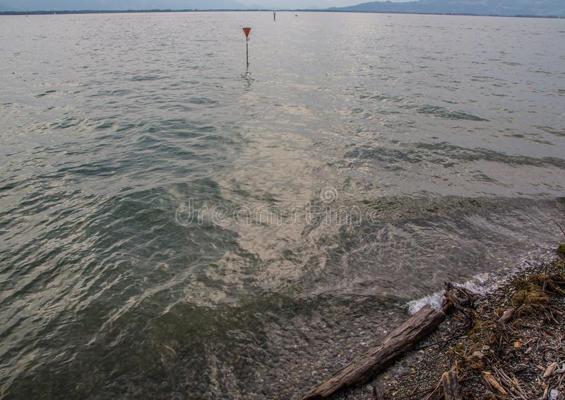 Rolling waves of the Lake Constance or Bodensee in southern Germany. During summer stock image