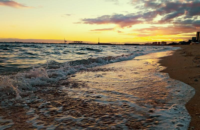 Rolling waves port Melbourne. Beach royalty free stock images