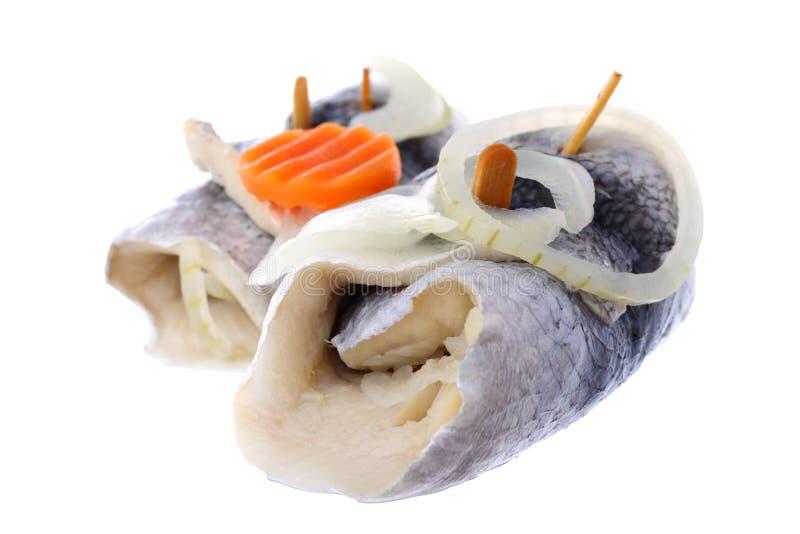 Rollmops marinés d'harengs d'isolement sur le blanc photos libres de droits