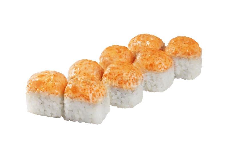 Rollo cocido caliente, sushi del casquillo aislado en el fondo blanco fotografía de archivo