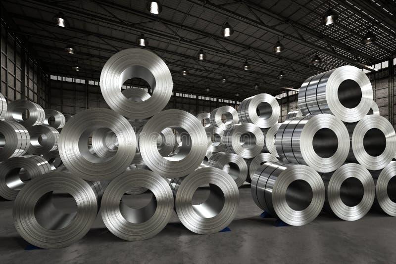 Rollo de la hoja de acero en fábrica fotos de archivo libres de regalías