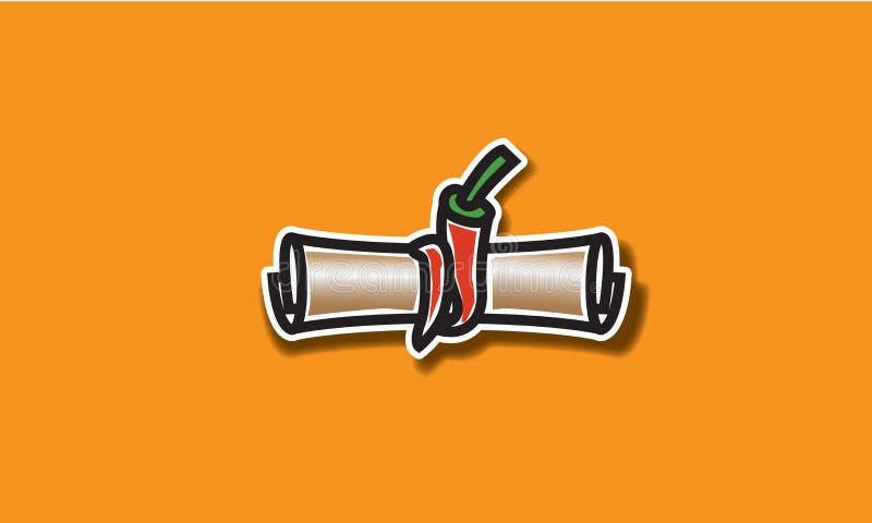 Rollo de la letra con el logotipo de la pimienta roja o el diseño del icono foto de archivo