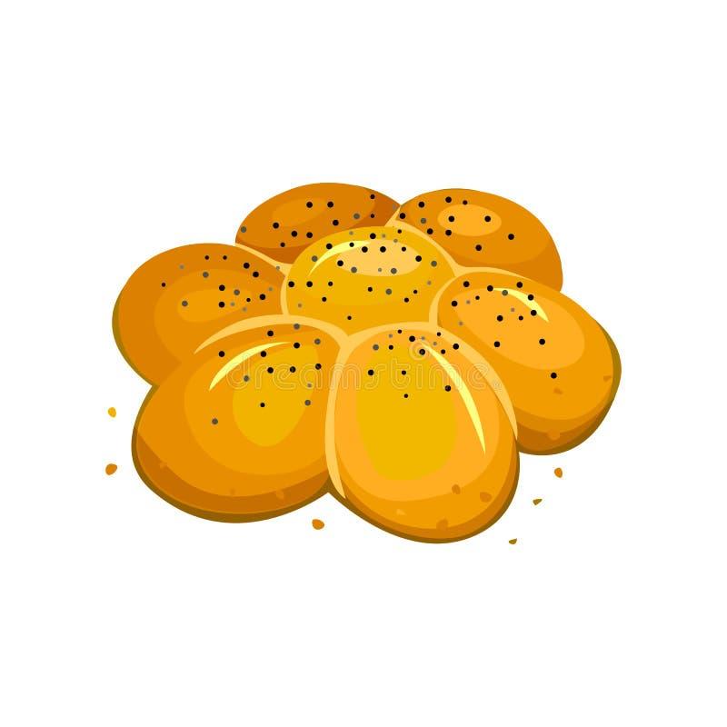 Rollo de la semilla de amapola con las semillas de sésamo Manzanilla Pan blanco, ejemplo del vector aislado en un fondo blanco libre illustration
