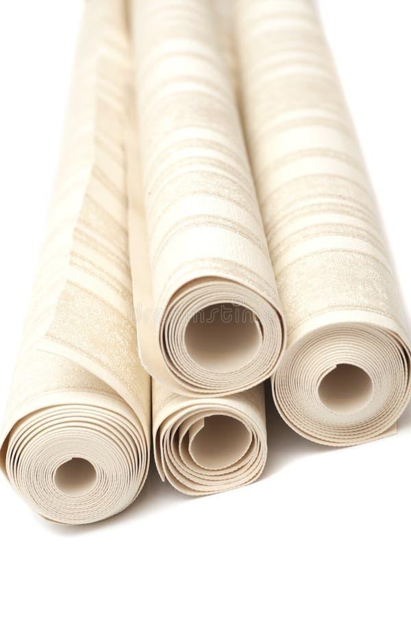 Rollo de los papeles pintados del vinilo en blanco fotos de archivo