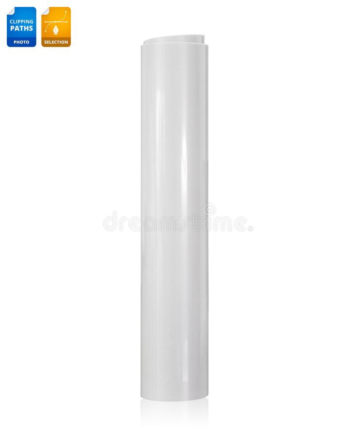 Rollo de papel en blanco aislado en el fondo blanco Papel brillante de la etiqueta engomada para el negocio del diseño Objeto de  imagenes de archivo