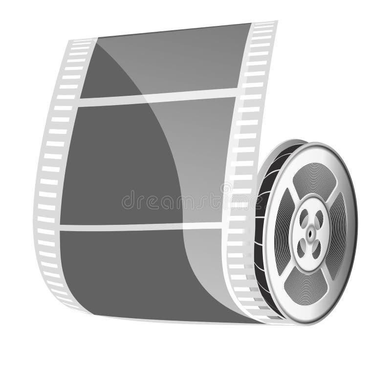 Rollo de película y cinta del cine aislada en el fondo blanco libre illustration