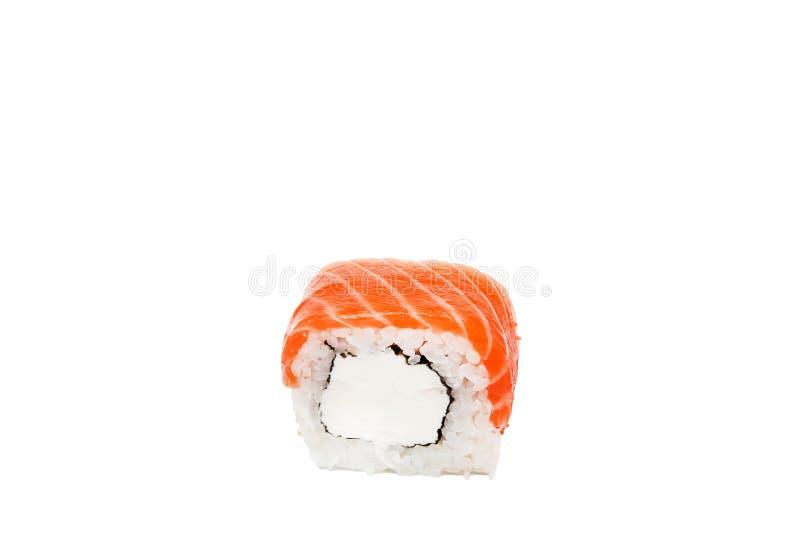 Rollo de Philadelphia, rollos de sushi aislados en el fondo blanco colecci?n Primer de la comida japonesa deliciosa con el rollo  imágenes de archivo libres de regalías