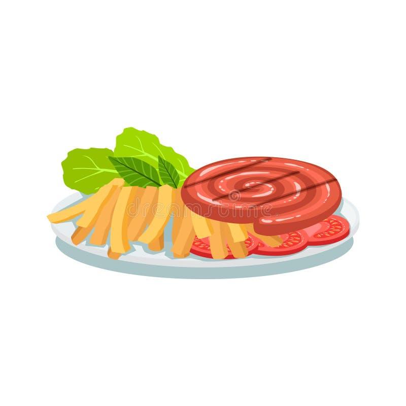 Rollo de salchicha, fritadas y tomate, ejemplo de la placa de la comida de la parrilla de Oktoberfest stock de ilustración