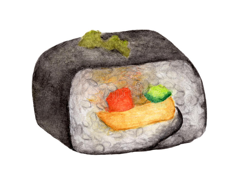 Rollo de sushi aislado en el fondo blanco, con la trayectoria de recortes, comida del japonés de la acuarela stock de ilustración