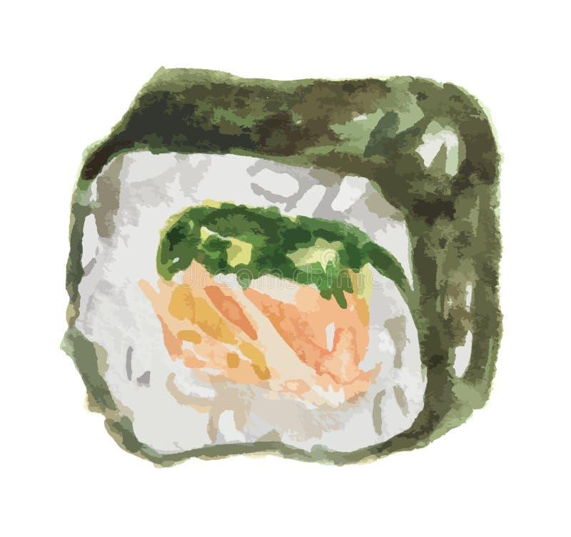 rollo de sushi de la acuarela ilustración del vector