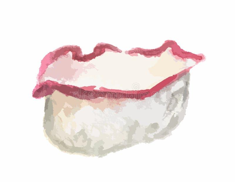 rollo de sushi de la acuarela stock de ilustración