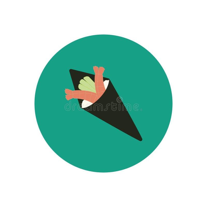 Rollo de sushi del cono con los camarones libre illustration