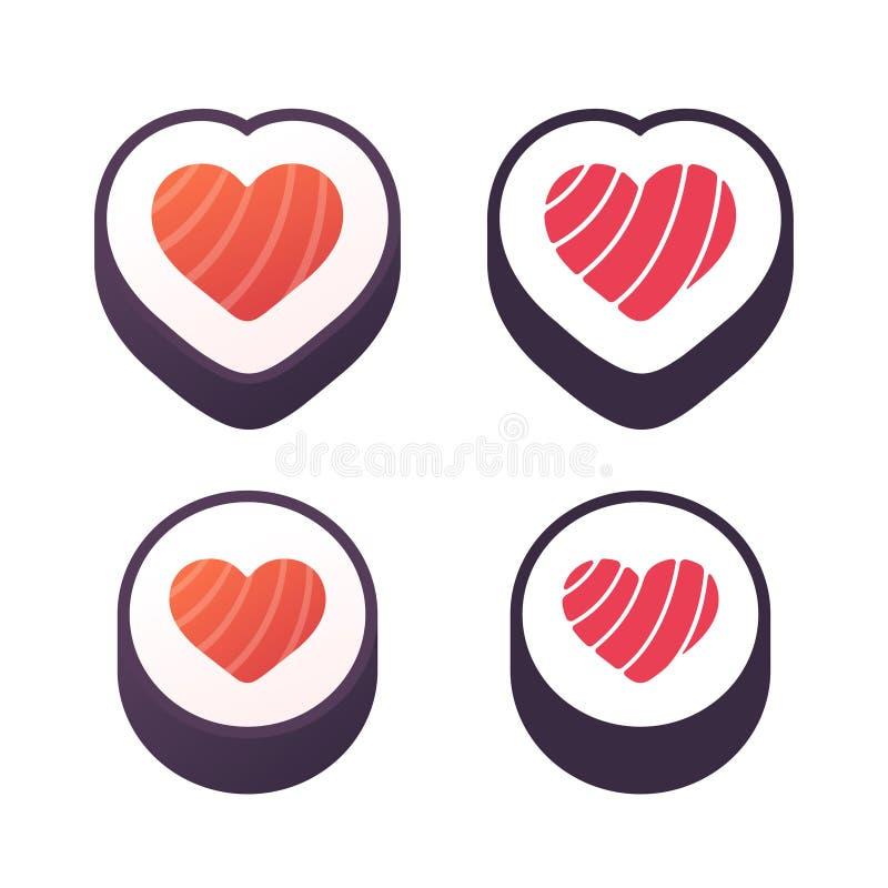 Rollo de sushi del corazón stock de ilustración