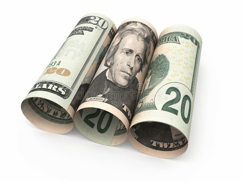 Rollo de veinte billetes de banco del dólar ilustración del vector