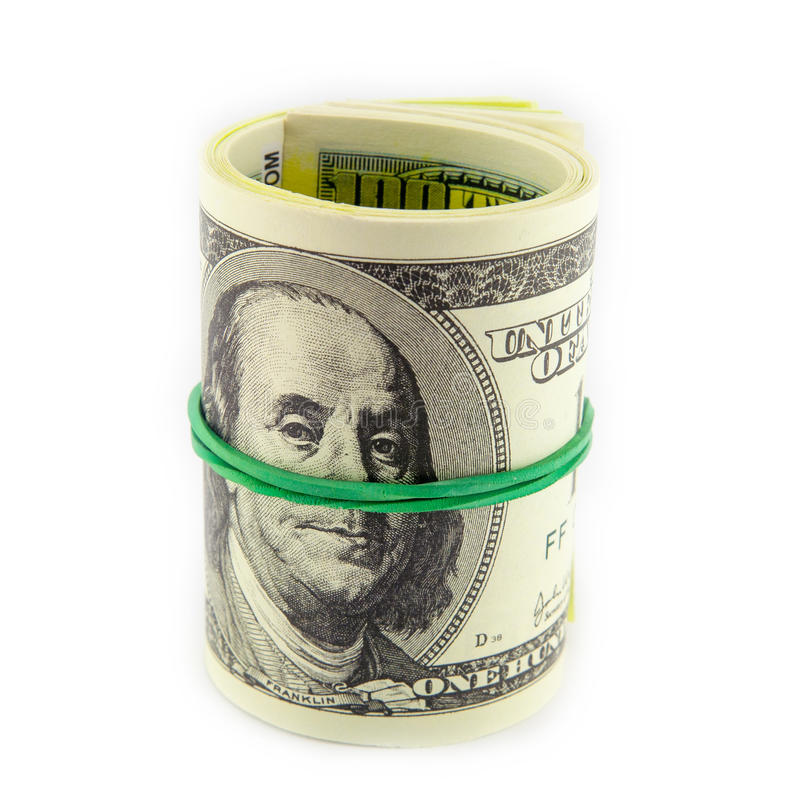 Rollo del dólar apretado con la banda fotos de archivo libres de regalías