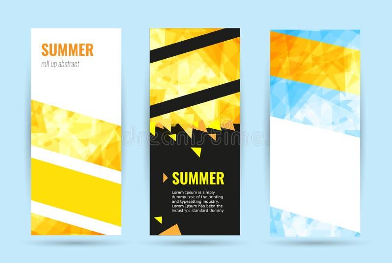 Rollo geométrico abstracto determinado para arriba Bandera vertical de la web del verano stock de ilustración