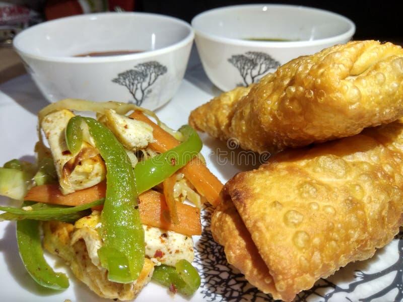 Rollo indio del paneer del bocado con el souce verde y rojo y la ensalada frita imagenes de archivo