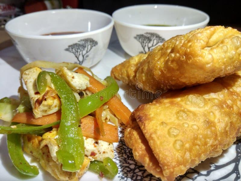 Rollo indio del paneer del bocado con el souce verde y rojo y la ensalada frita fotografía de archivo