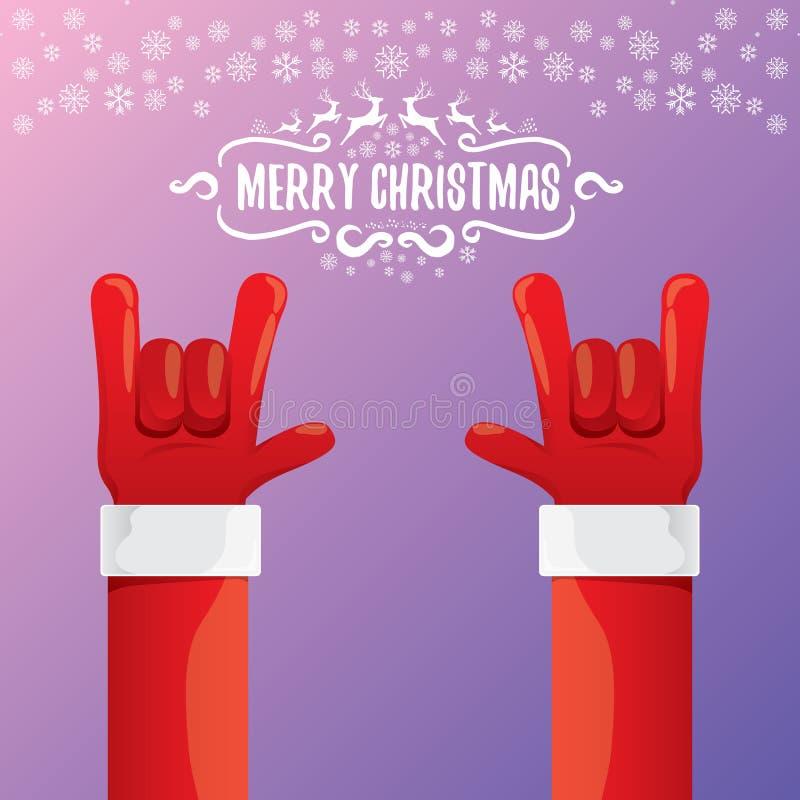Rollo Santa Claus de la roca n de la historieta del vector con el texto caligráfico del saludo en el fondo violeta de la noche co libre illustration