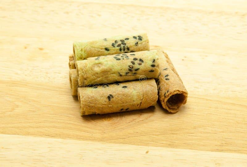 Rollo tailandés de la galleta del coco fotografía de archivo libre de regalías