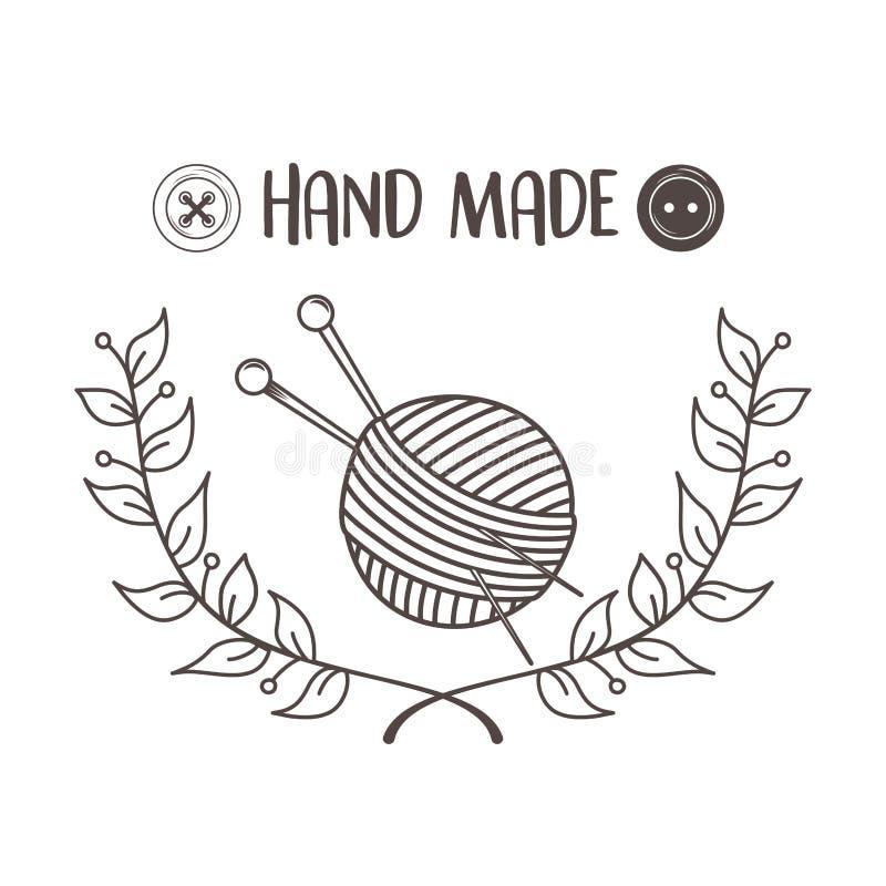 Rollo y agujas de costura hechos a mano de las lanas libre illustration