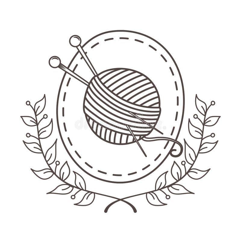 Rollo y agujas de costura hechos a mano de las lanas ilustración del vector