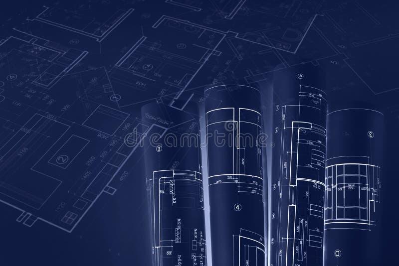 Rollos arquitectónicos del modelo, dibujos técnicos del plan tonelada azul ilustración del vector