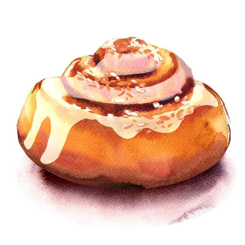 Rollos de canela hechos en casa frescos, bollo dulce, postre aislado, ejemplo de la acuarela en blanco ilustración del vector