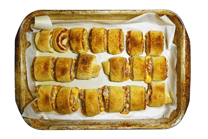 Rollos de carne cocidos en el molde para el horno viejo foto de archivo