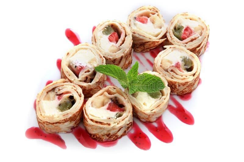 Rollos de la fruta de Maki Sushi del postre foto de archivo