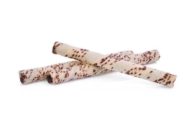 Rollos de la oblea de la raya de Brown aislados en blanco fotografía de archivo
