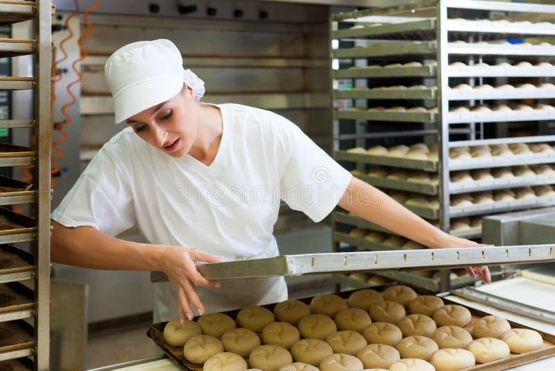 Rollos de pan femeninos de la hornada del panadero fotografía de archivo libre de regalías