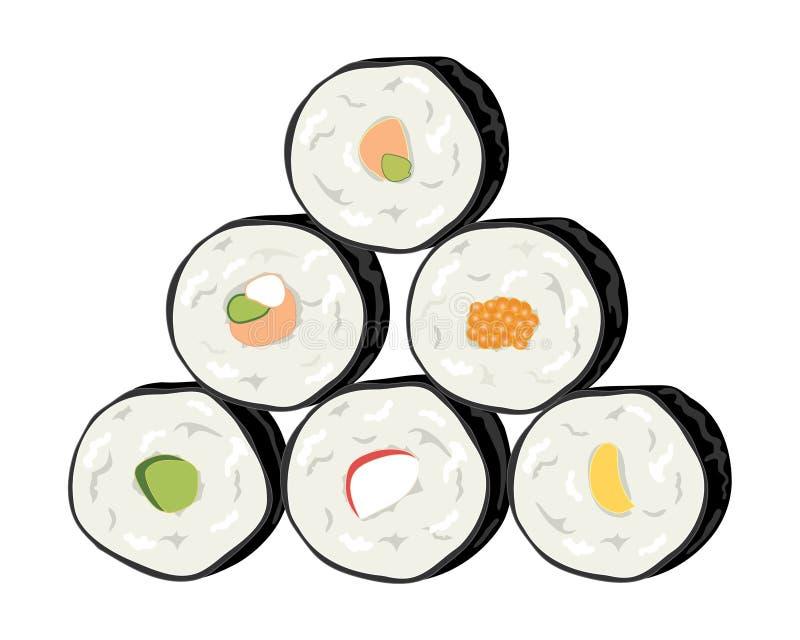 Rollos de sushi ilustración del vector