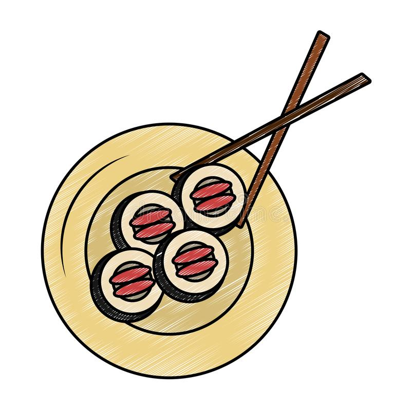 Rollos de sushi en garabato del plato stock de ilustración