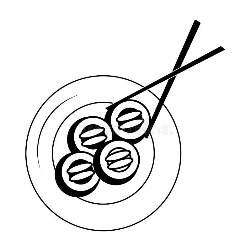 Rollos de sushi en plato en blanco y negro libre illustration